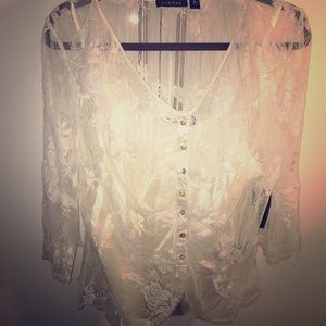 Sioni white lace shirt. NWT size XL shirt